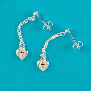 Örhängen - Hjärta med kors