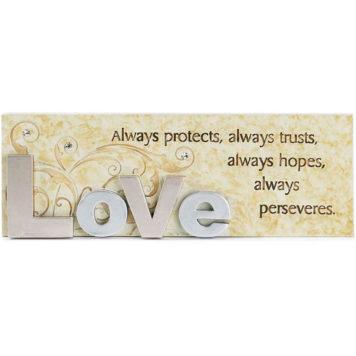 Bordstavla - Love always protects