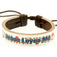 Läderarmband - Jesus loves me