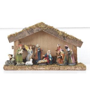 Julkrubba med stall - 5 cm