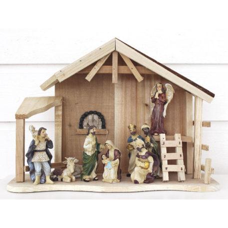 Julkrubba med stall - 11 cm